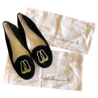 Pretty Ballerinas Velvet Slippers