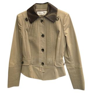 Christian Dior Beige Ribbed Tailored Jacket