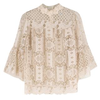Anna Sui Cream Sheer Guipure Lace Top