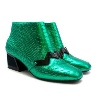 Kat Maconie emerald green low heel ankle boots