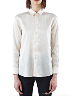 Saint Laurent Ecru Tailored Silk Shirt