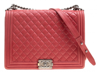 Chanel Red Lambskin Quilted Maxi Le Boy Bag