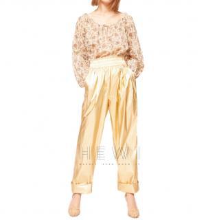 Mes Demoiselles Metallic Gold High Waist Pants