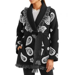 Alanui Bandana embroidered fringed cashmere cardigan