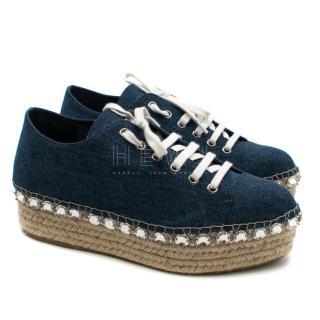 Miu Miu denim crystal embellished espadrille sneakers