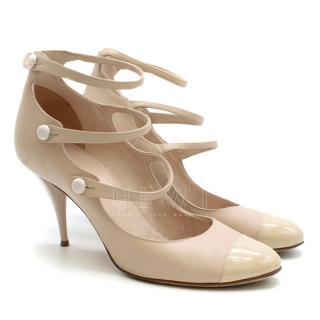 Chanel Nude Cap-Toe Multi-Strap Sandals