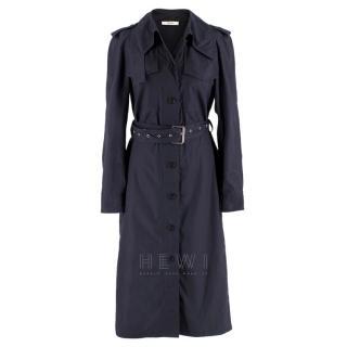 Celine Navy Blue Eyelet Belted Trench Coat