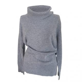 Max Mara Grey Roll Neck Knit Jumper