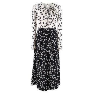 Self-Portrait Floral Print Black & White Midi Dress