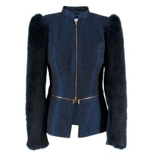 Philip Armstrong Double Zip Metallic Knit jacket w/ faux fur sleeves