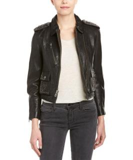 Zadig & Voltaire Studded Asymmetric Leather Jacket