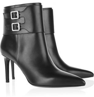 Saint Laurent Black Leather Buckle Detail Ankle Boots
