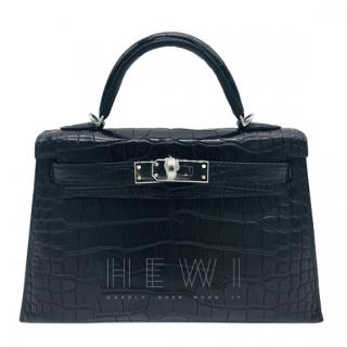 Hermes Black Matte Alligator 20cm Mini Kelly II - Full Set