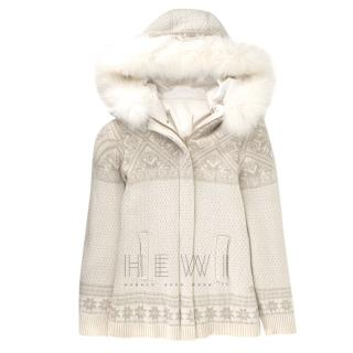 Loro Piana Off White Reversible Jacket with Fur Hood