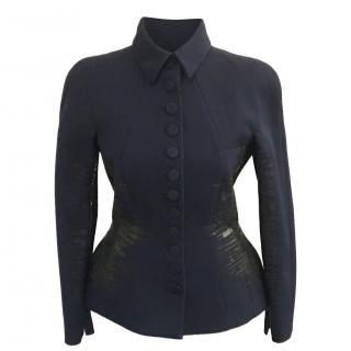 Bottega Veneta Navy Leather Trim Tailored Jacket