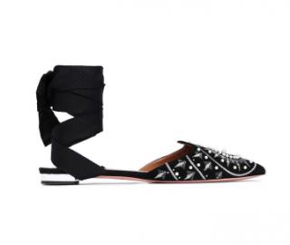 Aquazzura Silk-trimmed embellished suede point-toe flats