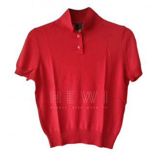 Gianni Versace Red Cashmere & Silk Polo Shirt