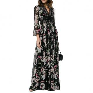 Giambattista Valli Silk Floral Lace Trim Gown