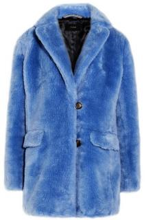 J Crew Faux Fur Blue Yuma Coat