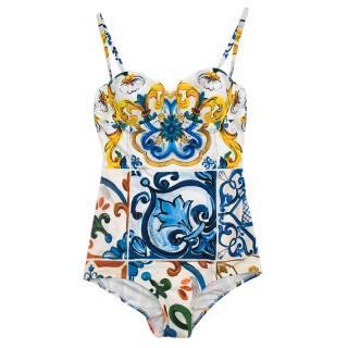 Dolce & Gabbana Blue Majolica Print Swimsuit