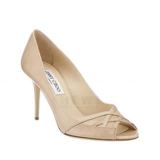 Jimmy Choo Nude Patent Leather Mondo Pumps