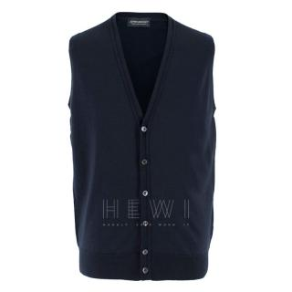 John Smedley Wool Blue Buttoned Vest