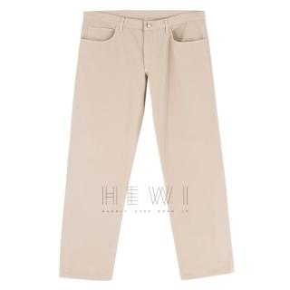 Loro Piano beige straight leg trousers