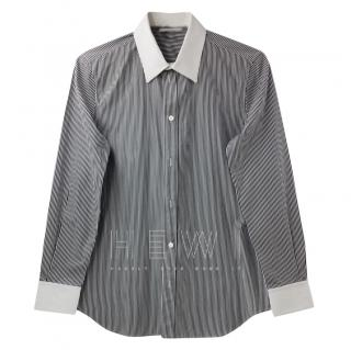 Celine Black Striped Cotton Poplin Shirt
