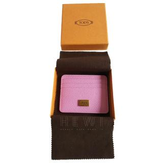 Tod's Pink Grained Leather Card Holder