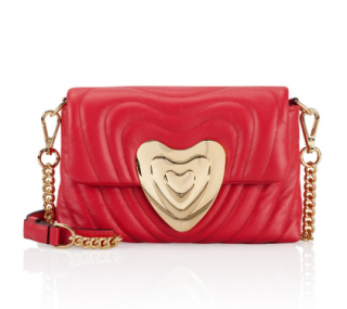 Escada Ruby Red Leather Heart Bag