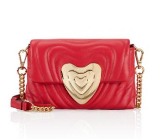 Escada Ruby Red Leather Heart Bag