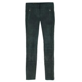 Loro Piana Bottle Green Lambskin Suede Trousers