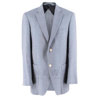 Balmain Men's Blue Wool Blend Blazer