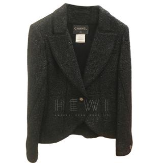 Chanel Black Tweed Tailored Short Jacket