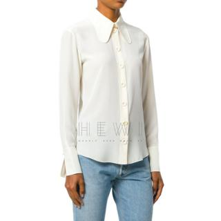 Chloe Silk Elongated Collar Blouse