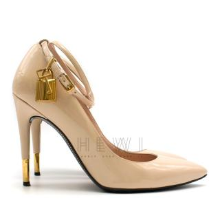 Tom Ford Blush Lacquered Leather Padlock Pumps