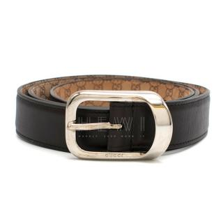 Gucci Brown Leather Monogram Lined Belt