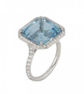 Tiffany & Co. Aquamarine Diamond Cocktail Ring - Platinum Set