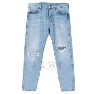 Gucci Men's Blue Distressed Jeans