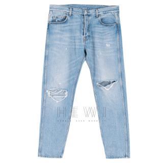 Gucci Men's Blue Distressed Jeans