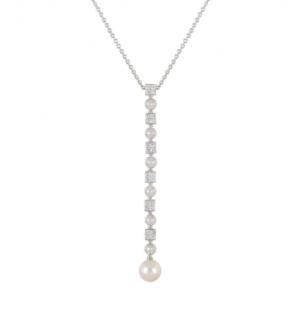 Bvlgari White Gold Diamond & Pearl Pendant Necklace