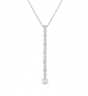 Bvlgari White Gold Diamond & Pearl Pendant Necklace