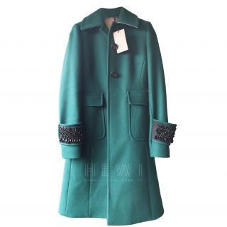 No.21 Emerald Green Wool & Cashmere Blend Embellished Coat