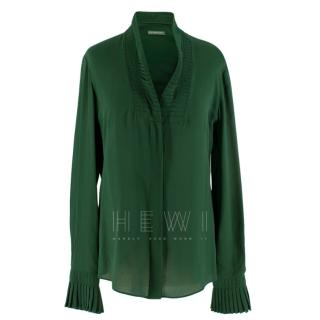 Alexander McQueen Green Pleat Collar Silk Blouse