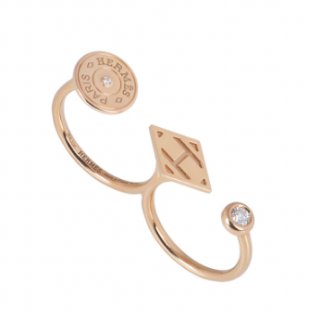 Herm�s Rose Gold Double Diamond Ring