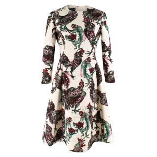 Rochas Fit & Flare Bird Print Long Sleeve Dress