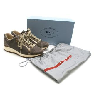 Prada Suede and Canvas Taupe Trainers