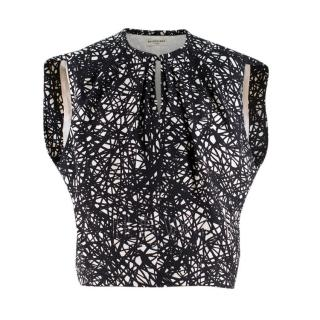 Balenciaga Black and White Printed Silk Sleeveless Top