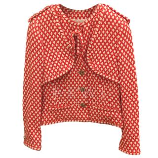 Chanel Red & White Embroidered Silk Blend Jacket