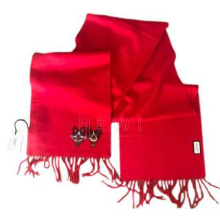Gucci Red Wool Embroidered Scarf - New In Box